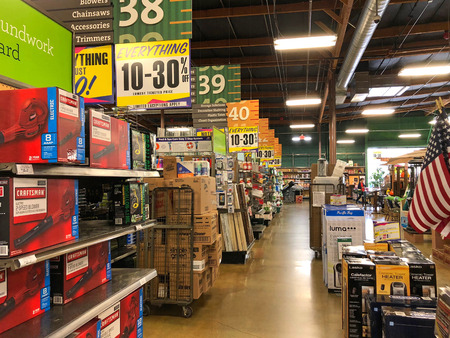 San Leandro, CA - August 24, 2018: Orchard Supply Hardware store begins liquidation sales after announcing are going out of business. Orchard Supply Hardware has its headquarters in San Jose, CA.