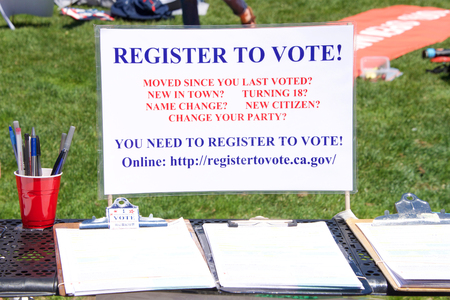 San Francisco, CA - June 30, 2018: Register to vote table set up at the