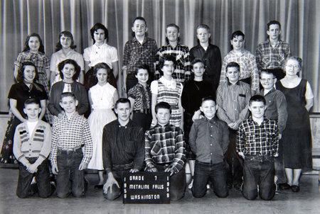 Metaline Falls, WA - Circa 1958: Vintage 7th grade class photo with Mary (Mae) Keron Drury as teacher.