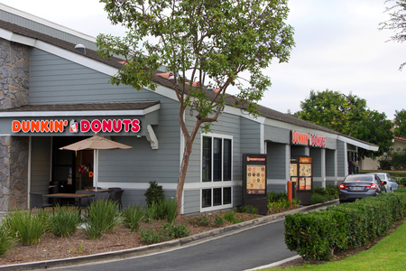 Irvine, CA - September 29, 2018: Dunkin Donuts, colloquially known as Dunkin is one of the largest coffee and baked goods chains in the world, with more than 12,000 restaurants in 36 countries Editorial