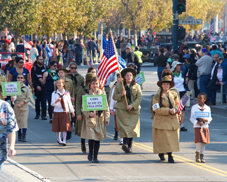 San Francisco, CA - November 11, 2018: Unidentified participants in the Veterans Day Parade in downtown San Francisco, marking the 100th anniversary of the end of World War One.