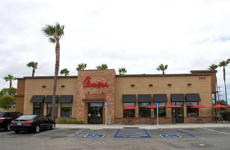 Tustin, CA - June 17, 2018: Chick-fil-A is an American fast food restaurant chain headquartered in the city of College Park, Georgia, specializing in chicken sandwiches. Editorial