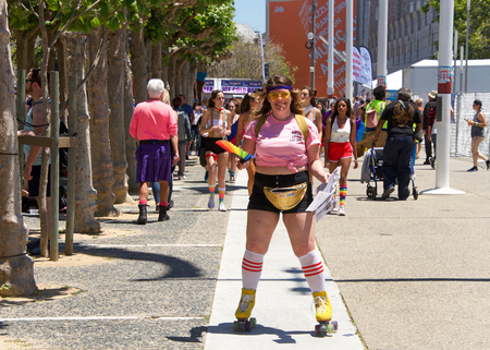 San Francisco, CA - June 23, 2018: Participants at San Francisco Pride, one of the largest gatherings of the LGBTQ Community and its allies in the nation. This years theme Generations of Strength.