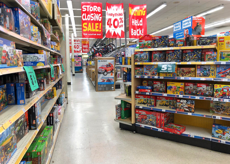 Dublin, CA - April 21, 2018: Toys R Us store final sales days. Bankrupt retailer Toys R Us closing all its US stores, liquidating all store locations and going out of business.