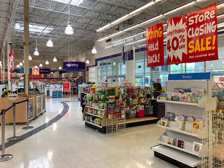 Dublin, CA - April 21, 2018: Babies R Us store final sales days. Bankrupt retailer Toys R Us closing all its US stores, liquidating all store locations, including Babies R Us and going out of business.