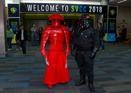 San Jose, CA - April 07, 2018: Unidentified participants at the Silicon Valley Comic Con. Celebrating technology, science and entertainment all under one roof. Cosplay characters posing for photos. Editorial