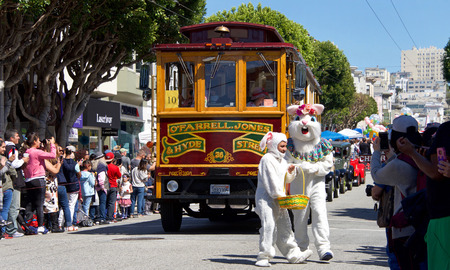 San Francisco, CA - April 01, 2018: Unidentified  participants in the 27th Annual Union St Easter Parade. The Biggest Little Parade in San Francisco and reflects the unique community of the Bay Area. Editorial