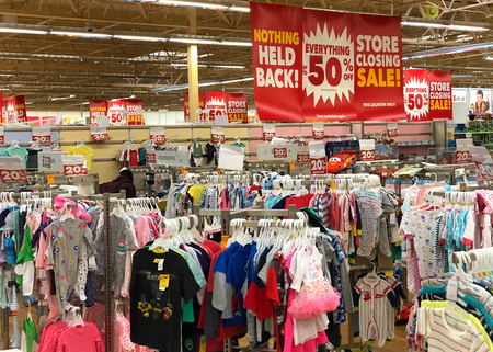 Emeryville, CA - March 10, 2018: Emeryville Toys R Us closing sale. Bankrupt retailer Toys R Us may shut all its US stores as soon as next week, according to several reports. Editorial