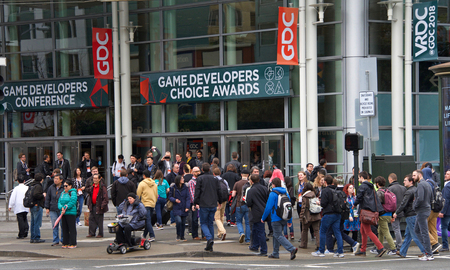 San Francisco, CA - March 21, 2018: Game Developers Convention 2018 entrance. GDC is the most important conference about video games development in the world at the Moscone Center, West Hall entrance