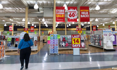 San Jose, CA - March 19, 2018: Toys R Us closing up to 182 stores as part of its Chapter 11 bankruptcy. Going out of business sales creating empty shelves quickly at this Babys R Us location.