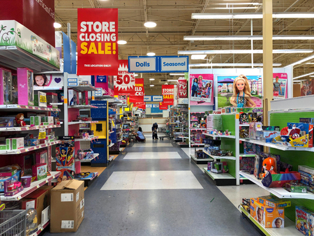 San Jose, CA - March 19, 2018: Toys R Us closing up to 182 stores as part of its Chapter 11 bankruptcy. Going out of business sales creating empty shelves quickly in many locations.