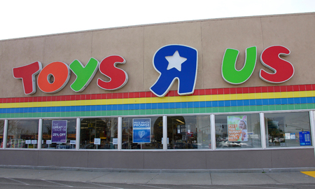 Hayward, CA - March 09, 2018: Toys R Us store front. Bankrupt retailer Toys R Us may shut all its US stores as soon as next week, according to several reports. Editorial