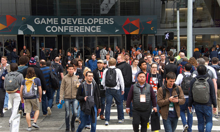 San Francisco, CA - March 21, 2018: Game Developers Convention 2018 entrance. GDC is the most important conference about video games development in the world at the Moscone Center, South Hall entrance