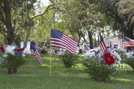 Memorial Day flags placed at the grave sites to pay tribute to fallen servicemen and women who gave their lives in service to our country Banque d'images