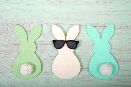 Felt bunnies in earth tone colors in a row, middle bunny wearing fun sunglasses other bunnies bottoms forward. Hoppy Easter theme.