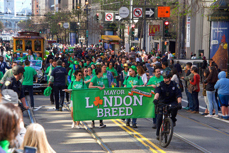 San Francisco, CA - March 16, 2019: Mayor London Breed participating in the 168th Annual Saint Patricks Day Parade, the West Coasts largest Irish event celebrating Irish culture.