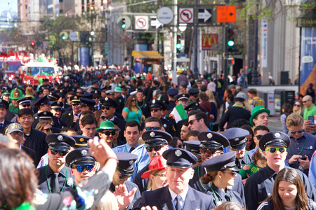 San Francisco, CA - March 16, 2019: Unidentified participants in the 168th Annual Saint Patricks Day Parade, the West Coasts largest Irish event celebrating Irish culture. Editorial
