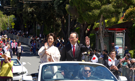 San Francisco, CA - April 21, 2019: Tomochika Uyama, counsul General of Japan in the 52nd annual Cherry Blossom Festival Grand Parade. One of the 10 best Cherry Blossom Festivals in the world.