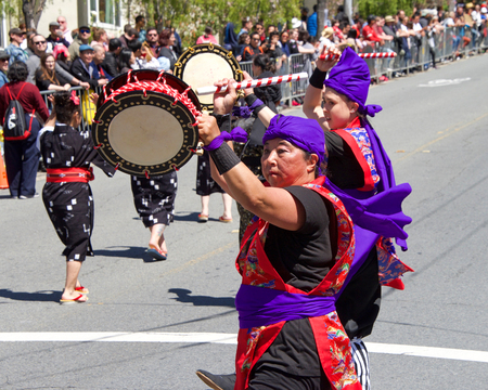 San Francisco, CA - April 21, 2019: Unidentified participants in the 52nd annual Cherry Blossom Festival Grand Parade.  One of the 10 best Cherry Blossom Festivals in the world.