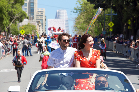 San Francisco, CA - April 21, 2019: Co-grand marshal Marie Digby participating in the 52nd annual Cherry Blossom Festival Grand Parade. One of the 10 best Cherry Blossom Festivals in the world.