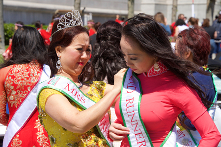 San Francisco, CA - April 21, 2019: Unidentified participants in the 52nd annual Cherry Blossom Festival Grand Parade. One of the 10 best Cherry Blossom Festivals in the world. Editorial