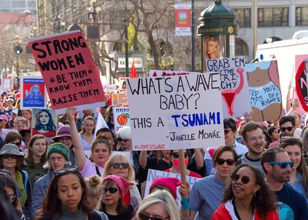 San Francisco, CA - January 19, 2019: Unidentified participants in the Women's March. This year's theme is Truth To Power and celebrating the Womens Wave.