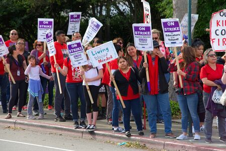 Union City, CA - May 22, 2019: Teachers and students march to the New Haven School District Educational Services Center to protest. 1st teachers strike ever at New Haven Unified's schools.