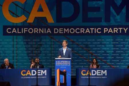 San Francisco, CA - June 01, 2019: Presidential candidate Eric Swalwell, Congressman, speaking at the Democratic National Convention inside Moscone center.