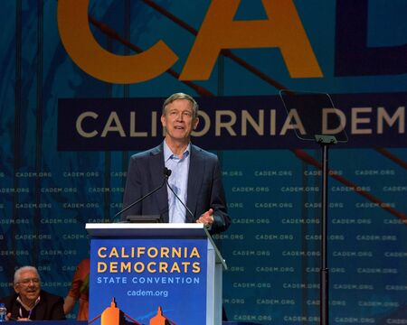 San Francisco, CA - June 01, 2019: Presidential candidate John Hickinloooper, former govenor of Colorado, speaking at the Democratic National Convention at Moscone center in San Francisco, CA