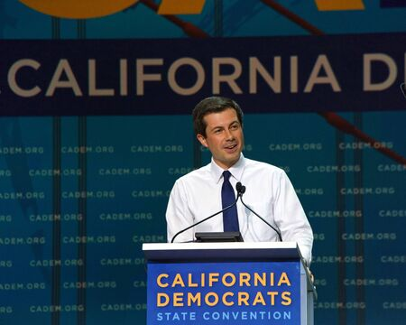 San Francisco, CA - June 01, 2019: Presidential candidate Pete Buttigieg, Mayor of South Bend Indiana, speaking at the Democratic National Convention at Moscone center in San Francisco, CA