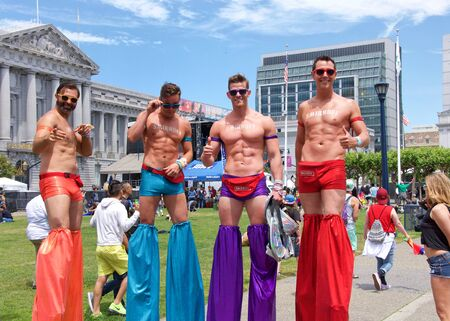 San Francisco, CA - June 29, 2019: Unidentified participants celebrates at the annual San Francisco Gay Pride Festival, at Civic Center in downtown San Francisco. Theme Generations of Resistance.