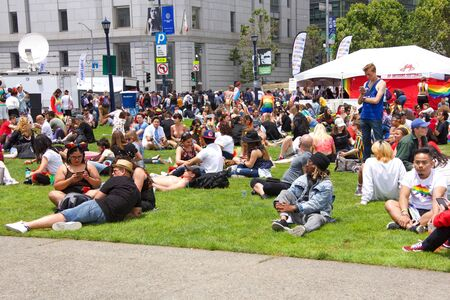 San Francisco, CA - June 29, 2019: Unidentified participants celebrates at the annual Gay Pride Festival, at Civic Center in downtown San Francisco. Theme Generations of Resistance.