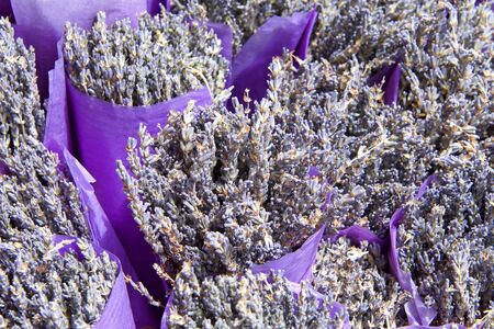 close up on bouquets of dried lavender flower wrapped in purple paper.
