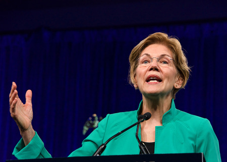 San Francisco, CA - August 23, 2019: Presidential candidate Elizabeth Warren speaking at the Democratic National Convention summer session in San Francisco, California.