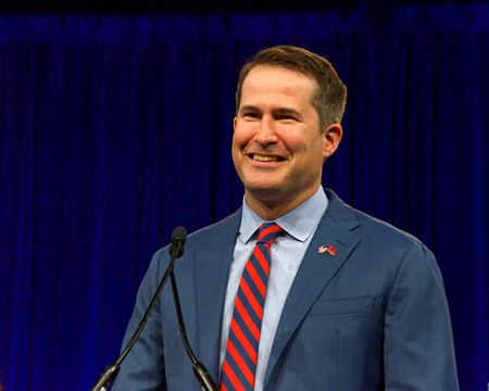 San Francisco, CA - August 23, 2019: Presidential candidate Seth Moulton speaking at the Democratic National Convention summer session, announcing his withdraw from the presidential race.