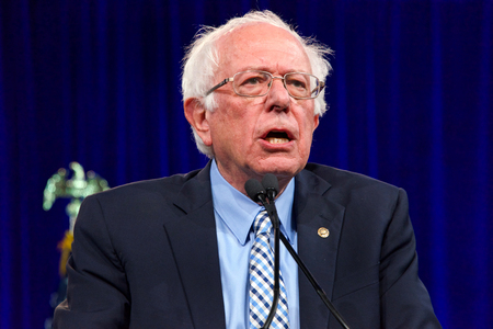 San Francisco, CA - August 23, 2019: Presidential candidate Bernie Sanders speaking at the Democratic National Convention summer session in San Francisco, California. Editorial