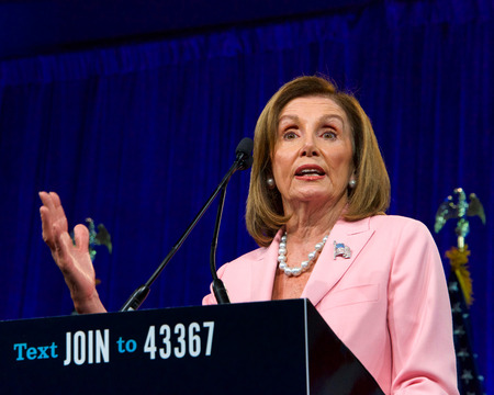 San Francisco, CA - August 23, 2019: Speaker of the House, Nancy Pelosi, speaking at the Democratic National Convention Summer Meeting in San Francisco, California