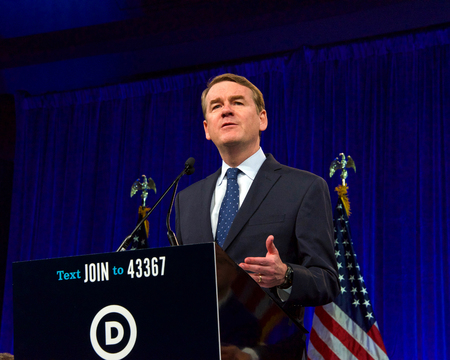 San Francisco, CA - August 23, 2019: Presidential candidate Michael Bennet speaking at the Democratic National Convention summer session in San Francisco, California. Redakční