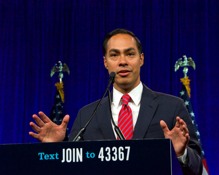 San Francisco, CA - August 23, 2019: Presidential candidate Julian Castro speaking at the Democratic National Convention summer session in San Francisco, California.