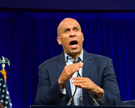 San Francisco, CA - August 23, 2019: Presidential candidate Cory Booker speaking at the Democratic National Convention summer session in San Francisco, California.