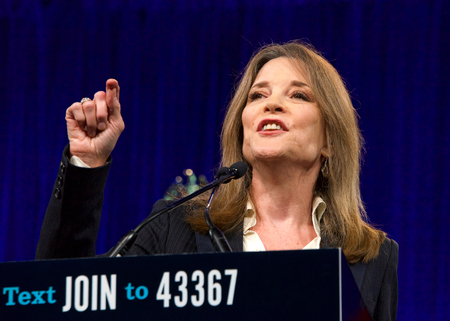 San Francisco, CA - August 23, 2019: Presidential candidate Marianne Williamson speaking at the Democratic National Convention summer session in San Francisco, California.
