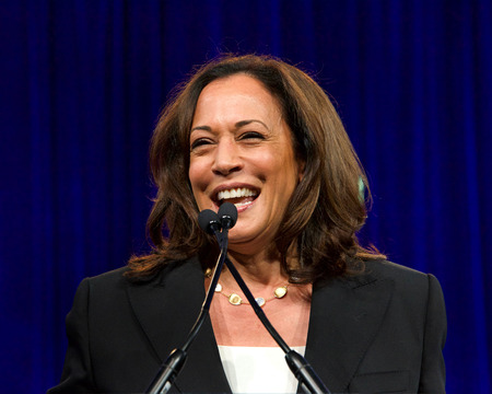 San Francisco, CA - August 23, 2019: Presidential candidate Kamala Harris speaking at the Democratic National Convention summer session in San Francisco, California. Sajtókép