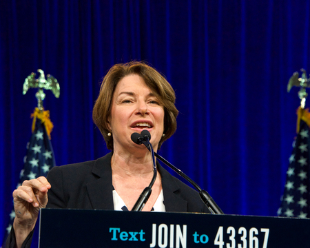 San Francisco, CA - August 23, 2019: Presidential candidate Amy Klobuchar speaking at the Democratic National Convention summer session in San Francisco, California. Redakční