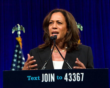 San Francisco, CA - August 23, 2019: Presidential candidate Kamala Harris speaking at the Democratic National Convention summer session in San Francisco, California. Redakční