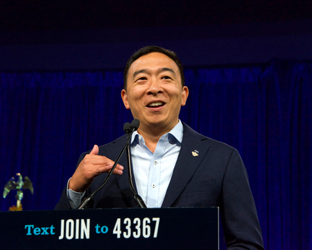 San Francisco, CA - August 23, 2019: Presidential candidate Andrew Yang speaking at the Democratic National Convention summer session in San Francisco, California.