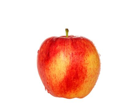 One whole gala apple isolated on white. Gala is a clonally propagated apple cultivar with a mild and sweet flavor.