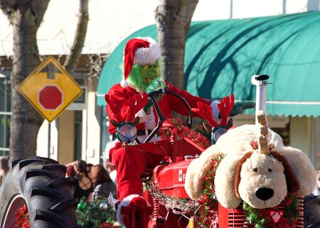 Benicia, CA - Dec 14, 2019: Unidentified participants in the 25th annual Christmas Parade, featuring local marching bands, dancers, and the much anticipated Santa Claus.
