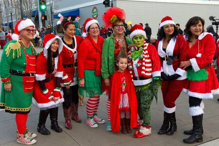 Vallejo, CA - Dec 14, 2019: Unidentified participants in the 10th annual Mad Hatter Parade. Acknowledged as California's most whimsical holiday event and as a top ten holiday attraction in Northern CA
