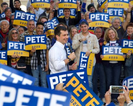Sacramento, CA - Feb 14, 2020: Presidential candidate Pete Buttigieg, Mayor of South Bend Indiana, speaking at a Town Hall at Cesar Chavez Plaza in downtown Sacramento.