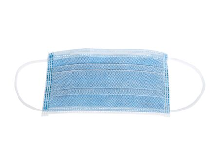 Blue surgical mask isolated on white